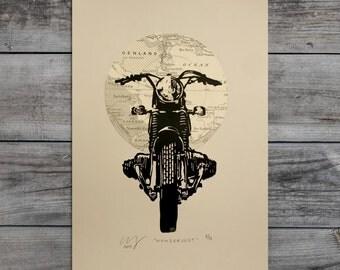 Wanderlust BMW Motorcycle Art Map Linocut Print