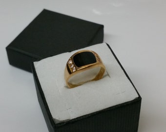 Age ring gold 916 with Onyx and crystals GR211