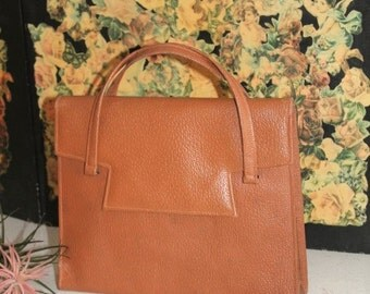 Vintage Leather Handbag/1940's Handbag/Tan Leather Handbag/Reenactment Handbag(Ref1955F)