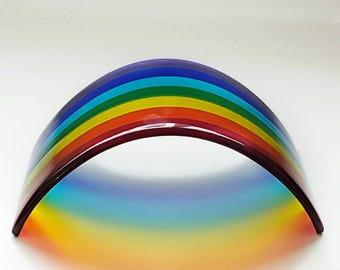 Mega Rainbow Arch Bridge Fused Glass Large Rainbow Arch Bridge Handmade