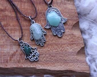 SMALL Hamsa hand / hand of Fatima with green agate