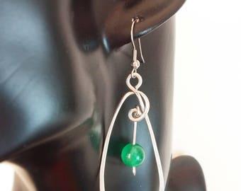 Earring Freyja - Green Cat's Eye Glass