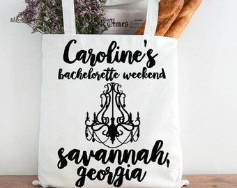 Custom Savannah Bridesmaid Totes, Custom Bachelorette Party Tote, Bride's Tote