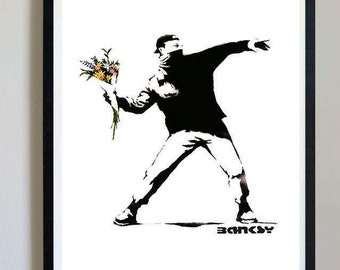 Banksy Flower Chucker - #01 - Flower thrower, banksy art prints, banky posters, decor, pictures