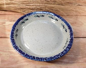 Vintage Stoneware Blue Sponge Flower Pie Plate, Pottery Pie Plate, Farmhouse Chic
