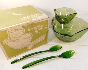 Vintage Indiana Glass Olive Green 5 Piece Serving Set, Chip and Dip Bowl, Retro Serving