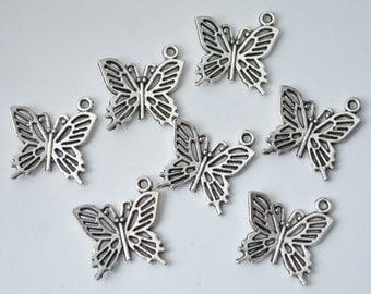 10 Pcs Butterfly Charms Antique Silver Tone 19x20mm - YD0705