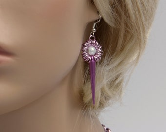 Pink earrings with studs, Chainmaille