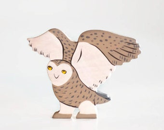 Wooden snowy owl toy North Pole animals play set Arctic animals wood toys for kids learning toy birthday gift play space