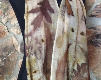 eco-print, ecofriendly, merino wool gauze scarf with fringe, printed naturally with white oak and eucalyptus leaves