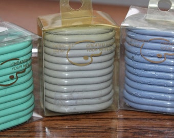 "3 Sets Oval Shower Curtain Hooks -- H M Coby / Hong Kong --12 per Pkg / 36 -- Gray, Lavender, Green -- 2.25"" x 1.6"" -- Shower, Ring, Curtain"