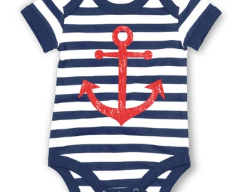 Distressed Anchor (Red) striped baby grow