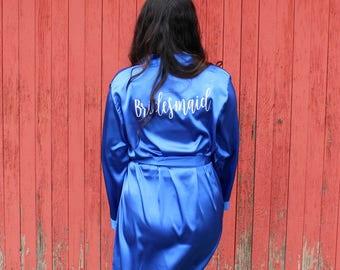 Bridesmaid Robe - Bridal Robe - Satin Bridesmaid Robe - Glitter Name - Robe Set of 1, 2, 3, 4, 5, 6, 7, 8, 9, 10, 11  - Bridesmaid Gift Robe
