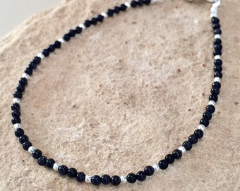 Black/blue bracelet, goldstone bracelet, gemstone bracelet, sterling silver bracelet, dainty bracelet, small bracelet, gift for her