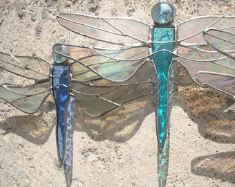 Stained Glass Turquoise Dragonfly, Glass Dragonfly, Dragonfly Suncatcher, Iridescent Glass Insect Design, Original Glass Hanging Design