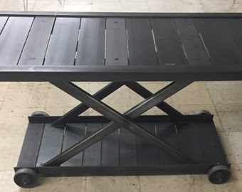 """Restoration Hardware Industrial console sofa table 60"""" x 24"""" Steel with casters"""