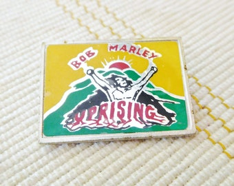 Bob Marley Uprising metallic pin badge made in England 1980s