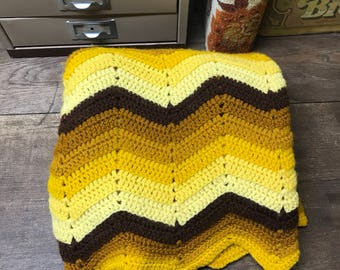 Vintage Afghan Blanket Chevron Yellow Brown