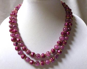 2 strand PURPLE BEADED necklace from Hong Kong