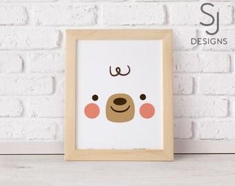 Printable art, Bear print, Cute bear print, Nursery decor, Nursery art print, Bear wall art, Woodland Animal,