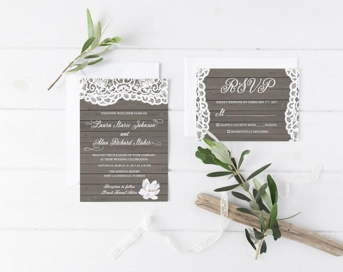 Rustic Beach Wedding Invitation, Destination Wedding Printable Invitation Suite, Vintage Lace Wood Boho Wedding Invite, Printed Available