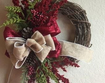 Christmas wreath for front Door, rustic Christmas wreath, front Door decor, Christmas front door decor, Christmas wreath, Winter Wreath