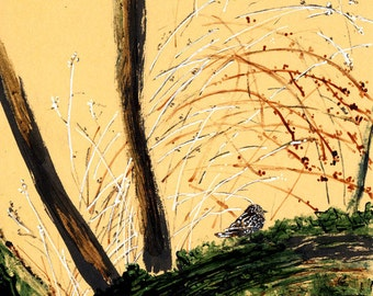 Étourneau sur un tronc / Starling on a trunk - 20 cm x 30 cm