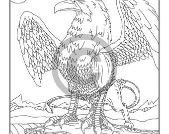 griffin coloring page printable adult coloring book page instant digital download coloring page