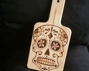 Sugar Skull Chopping Board - Small Wooden Board - Cheese Platter - Hand Pyrographed