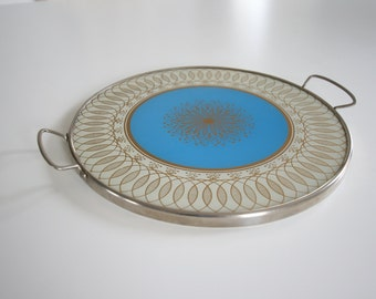 Vintage mid century glass and metal serving tray/platter