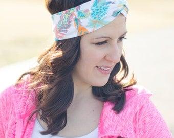 Twist Headband - Girlfriend Gift - Turban Style Headband - Fabric Headband - Turban Headwrap - Workout Headband - Feather Print Headband