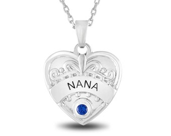 Nana Pendant Necklace With Personalized Birthstone, Nana Jewelry Gift for Nana, Personalized Grandma Heart Necklace for Grandma Gift Ideas