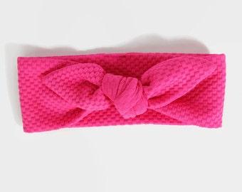 Top Knot Headband, Baby Headwrap, Pink Headband, Baby Bow Headband, Knotted Headwrap, Baby Shower Gift, Knot Headband, Baby Turban Headband