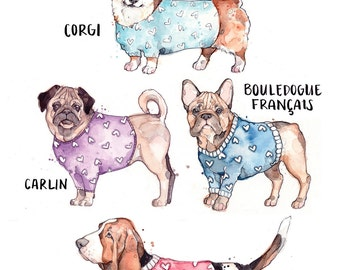 Print of Dogs with Sweater | Watercolor | Drawing | Animal | Marie-Eve Arpin | Dog | Art | Cute | Deco | Dog Art | Print |  Affiche