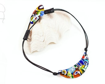 Murano glass bib necklace - Multicolor choker leather - Made in Italy choker collar contemporary necklace