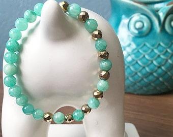 6mm Amazonite Bracelet, Yoga Bracelet, Gemstone Bracelet, Moonflower Beads, Stacking Bracelet, Fall Bracelet, Beaded Bracelet, hematite