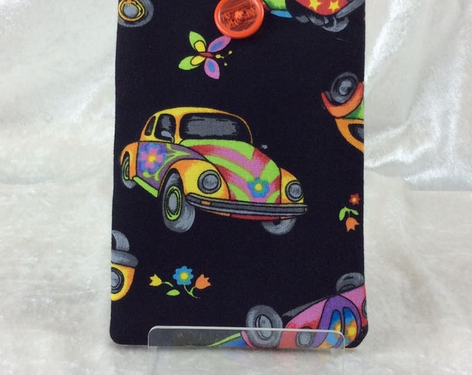 Psychedelic VW Volkswagen Beetle Large Phone Glasses Case fabric elastic button Handmade in England