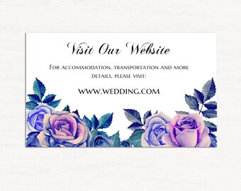 Wedding insert card template Floral wedding information card printable Flowers website cards Purple wedding details card Diy info card 1W108