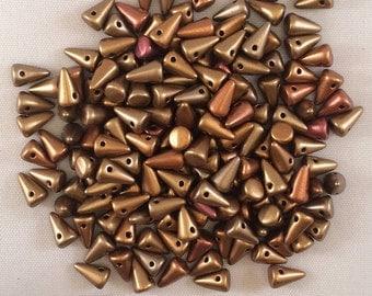 Spike Beads, 5x8mm, Metallic Mix, 01610, 25 Beads, Czech Glass