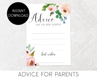 Baby Advice for New Parents To-Be, Baby Shower Game, Watercolor Flower, Calligraphy, Advice for Mommy, Printable, Instant Download [479]