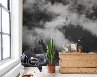Foggy forest wallpaper,  Tree wall mural,  Peel and Stick,  Misty forest,  Removable Wall sticker,  Self adhesive wall decor  #8