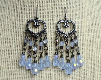 Blue Chandelier Earrings, Beaded Earrings, Chandelier Earrings, Women's Earrings, Gift for her, Boho Earrings