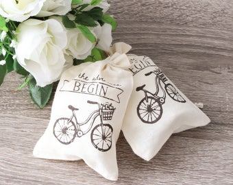Let the adventure Begin Burlap Wedding Favor Bags, Jute Favor bags wedding favors gift welcome bags pouch, - 10 bags
