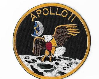 """NASA Apollo 11 Patch (3.5"""") Embroidered Iron on Badge Applique Space Astronaut Moon Landing Costume Motif Souvenir Collectible Retro Rare"""