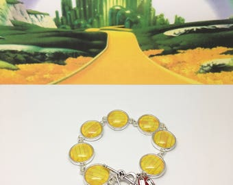 Follow the Yellow Brick Road - The Wizard of Oz inspired Glass bracelet with ruby slippers