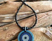 Pave' Evil Eye Pendant & Black Crystal Necklace