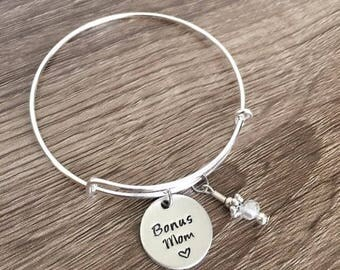 Bonus Mom bracelet / Christmas gift for stepmom / Step-mom present / Fun mom bangle charm bracelet / Stepmom jewelry / Family gift