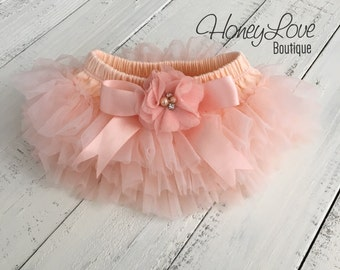 Peach tutu skirt bloomers diaper cover embellished rhinestone pearl flower, ruffles all around, newborn infant toddler little baby girl
