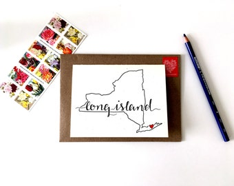 Long Island Greeting Card / Long Island Map / New York Cards / New York State