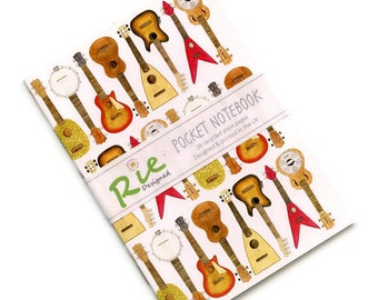 Ukulele Notebook A6 Recycled Plain Paper Journal Jotter Notebook Sketch Musicians Music Pocket Note Book